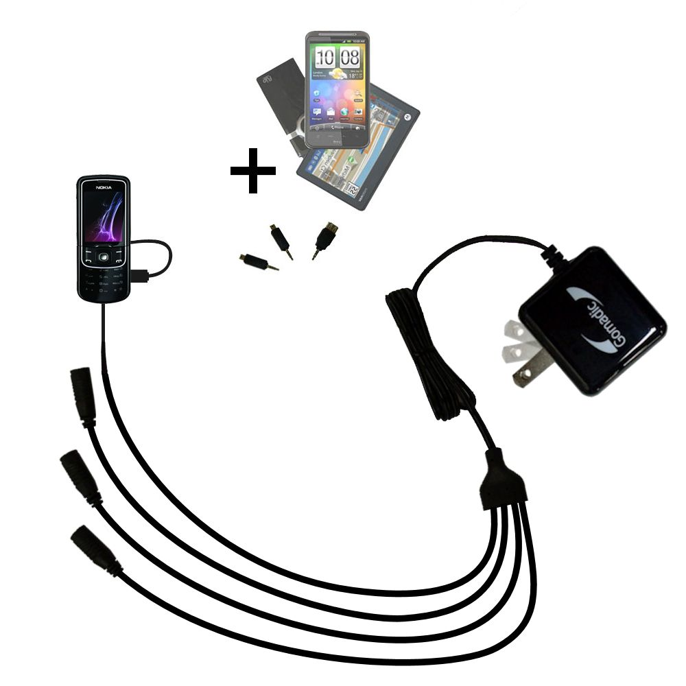 Quad output Wall Charger includes tip for the Nokia 8600 Luna