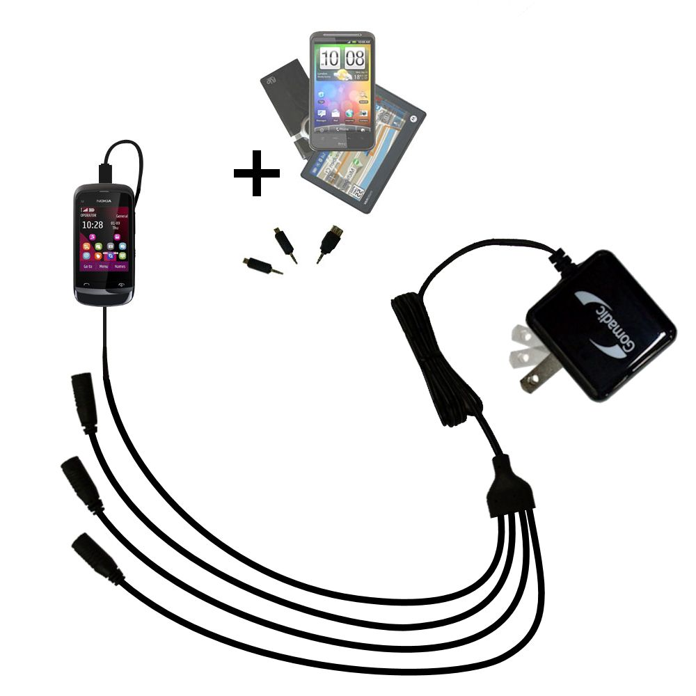 Quad output Wall Charger includes tip for the Nokia C2-O2