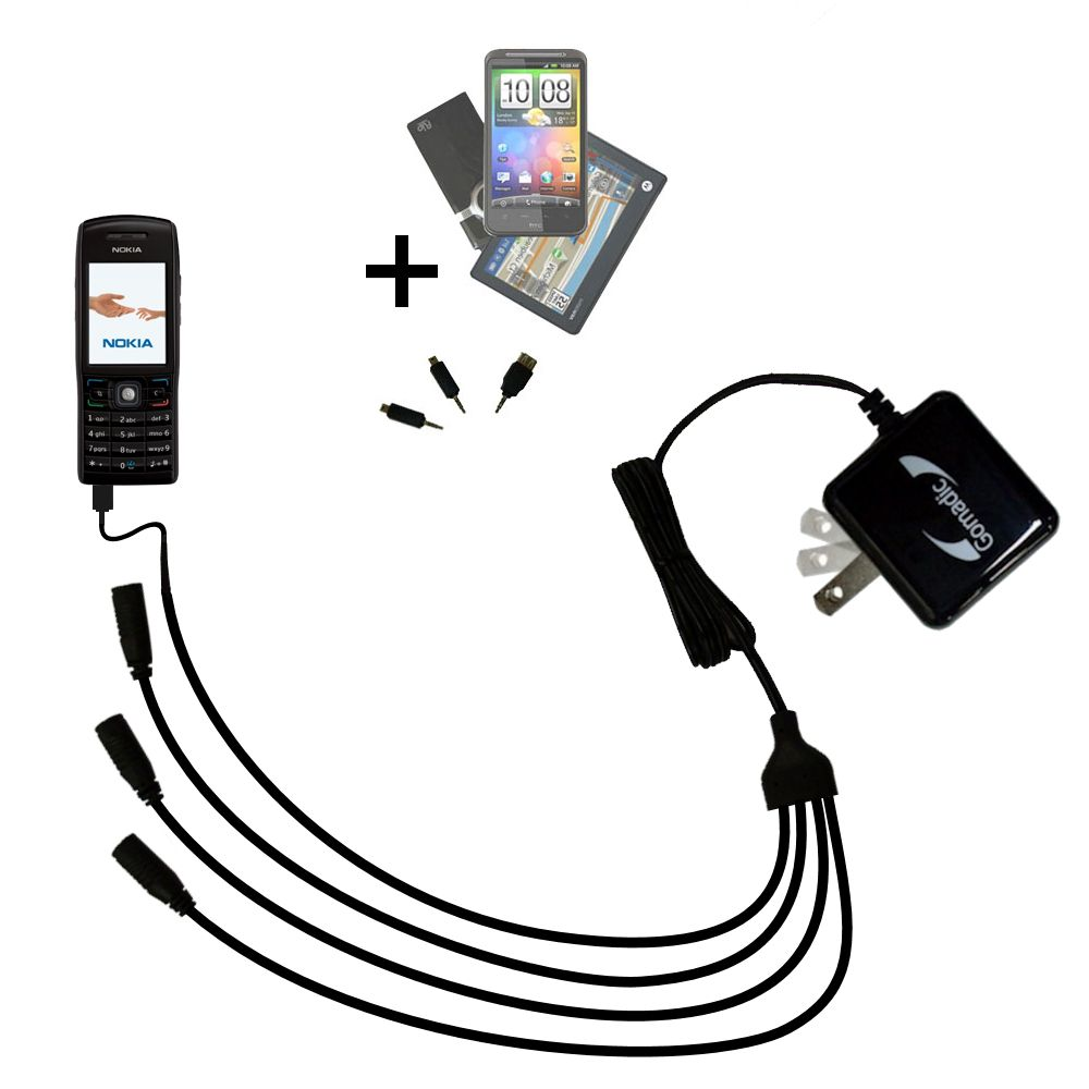 Quad output Wall Charger includes tip for the Nokia E50