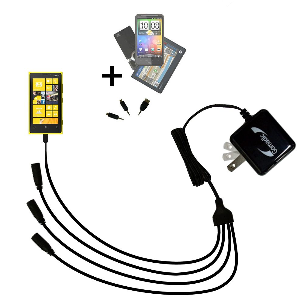 Quad output Wall Charger includes tip for the Nokia Lumia 920