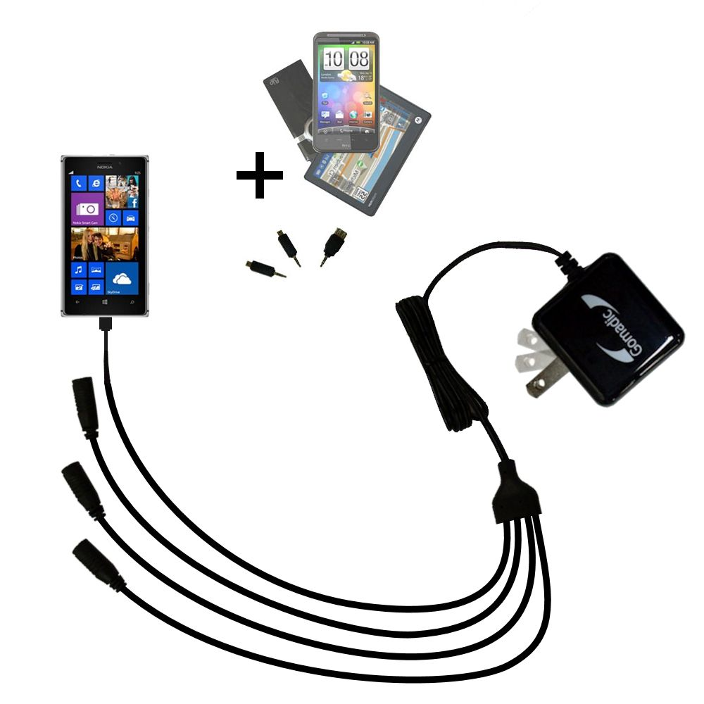 Quad output Wall Charger includes tip for the Nokia Lumia 925