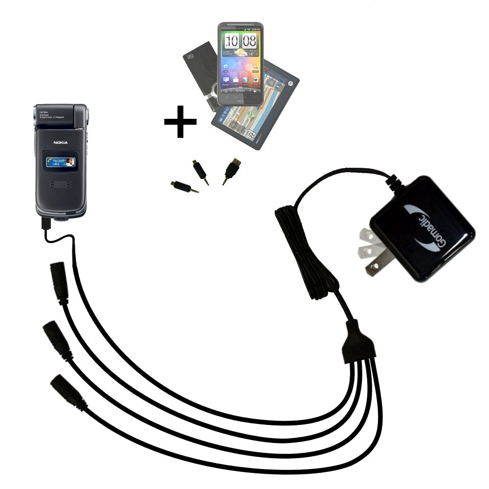 Quad output Wall Charger includes tip for the Nokia N90 N93 N95