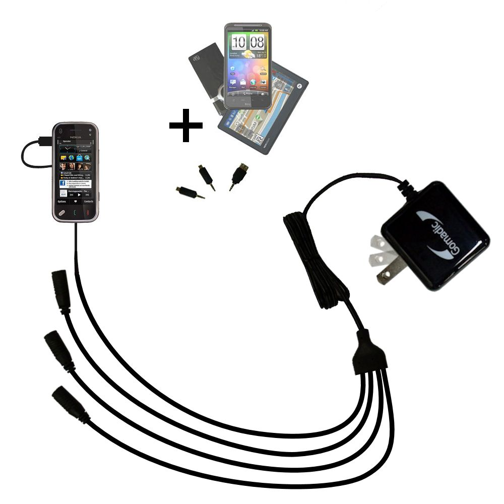 Quad output Wall Charger includes tip for the Nokia N97 Mini