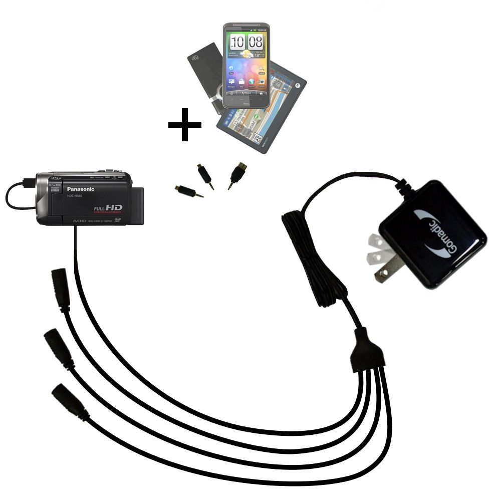 Quad output Wall Charger includes tip for the Panasonic HDC-HS60 Video Camera