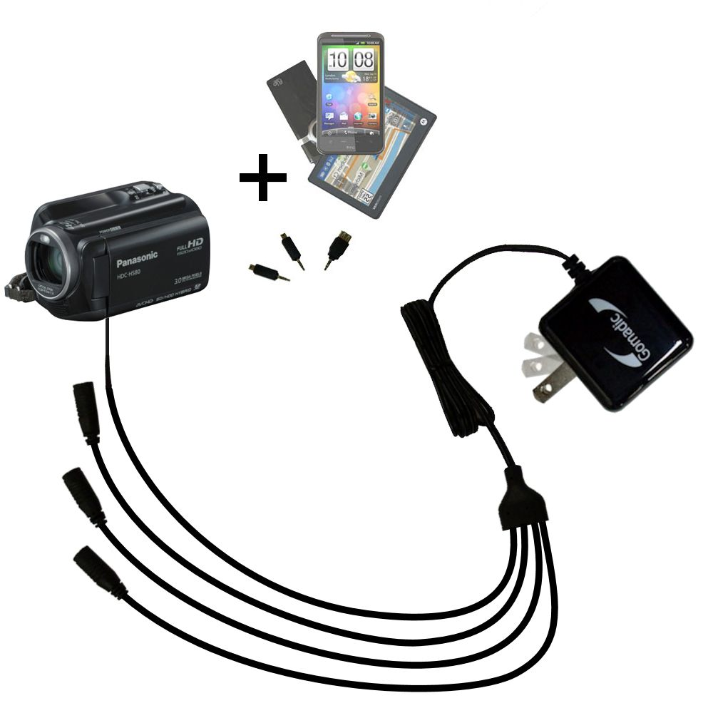 Quad output Wall Charger includes tip for the Panasonic HDC-HS80 Camcorder