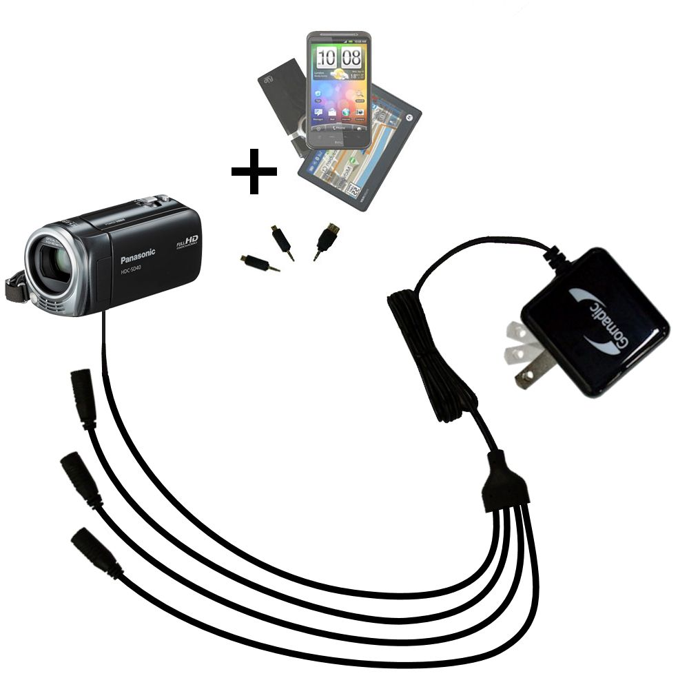 Quad output Wall Charger includes tip for the Panasonic HDC-SD40 Camcorder
