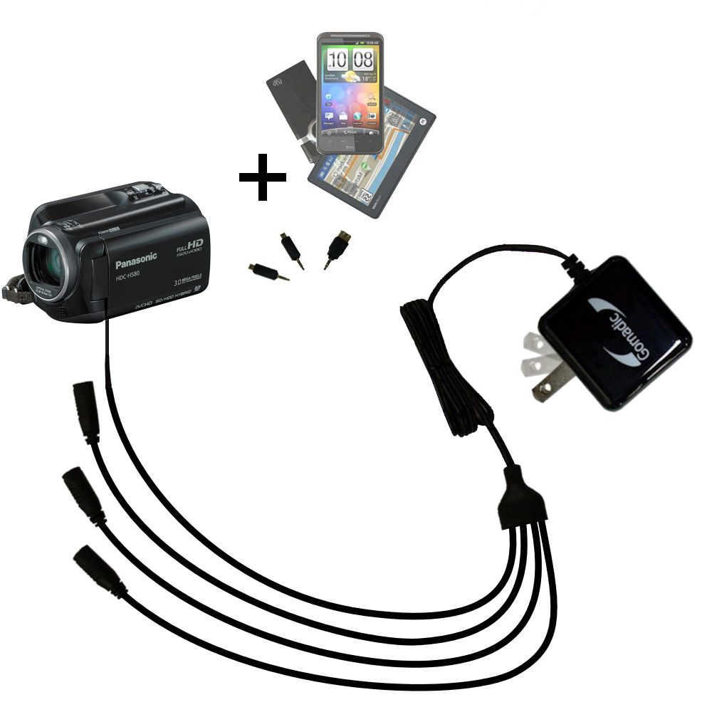 Quad output Wall Charger includes tip for the Panasonic HDC-SD80 Camcorder