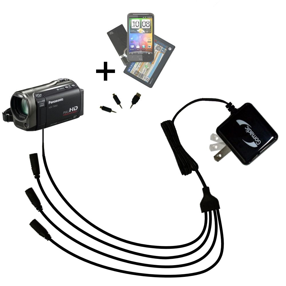 Quad output Wall Charger includes tip for the Panasonic HDC-TM55 Video Camera