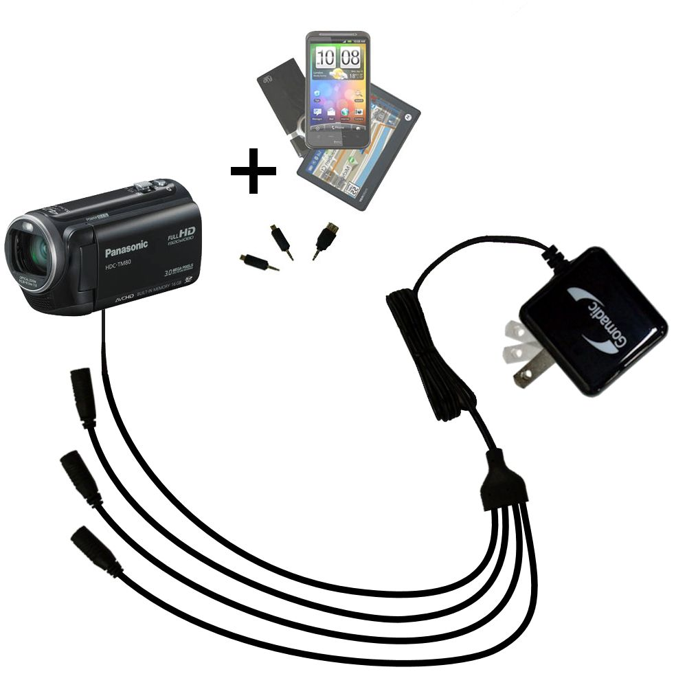 Quad output Wall Charger includes tip for the Panasonic HDC-TM80 Camcorder