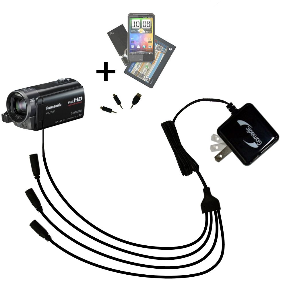 Quad output Wall Charger includes tip for the Panasonic HDC-TM90 Camcorder