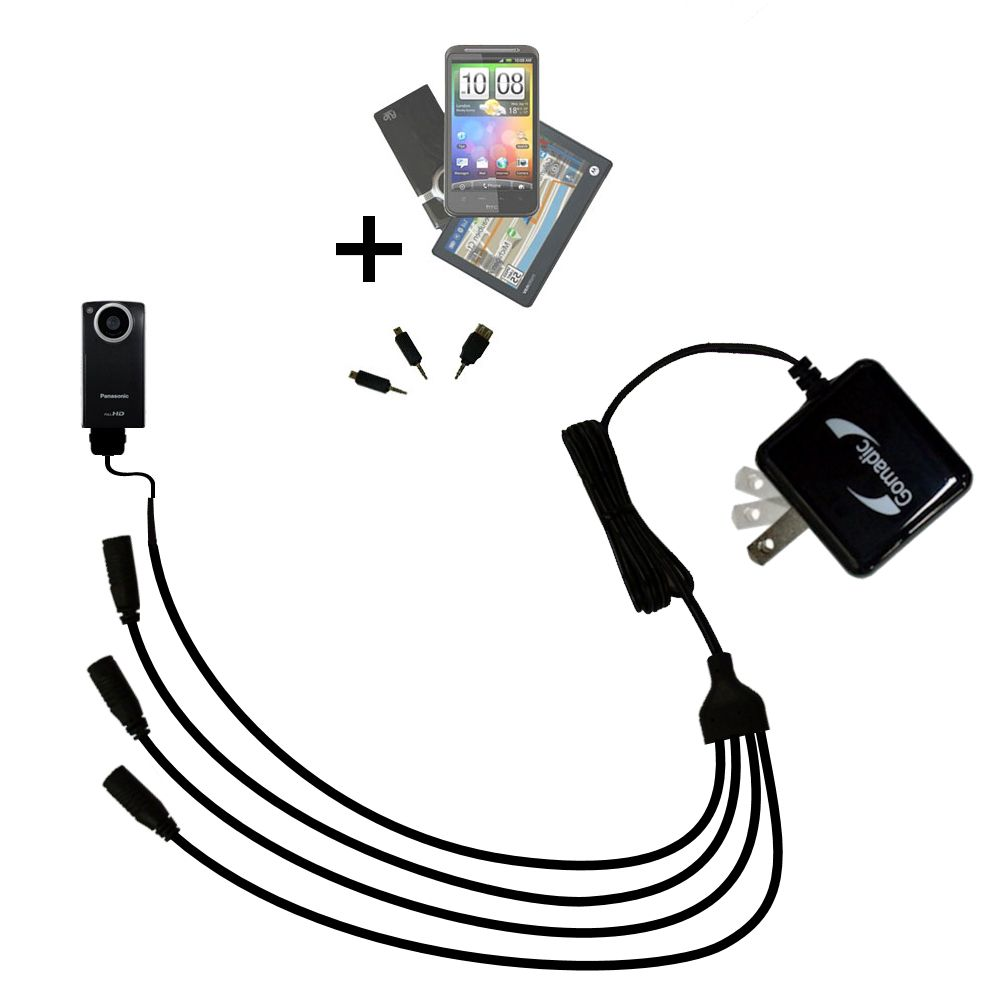 Quad output Wall Charger includes tip for the Panasonic HM-TA1V Digital HD Camcorder