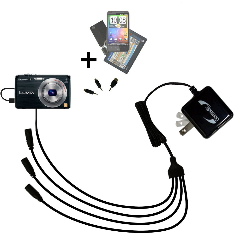 Quad output Wall Charger includes tip for the Panasonic Lumix DMC-FH8K