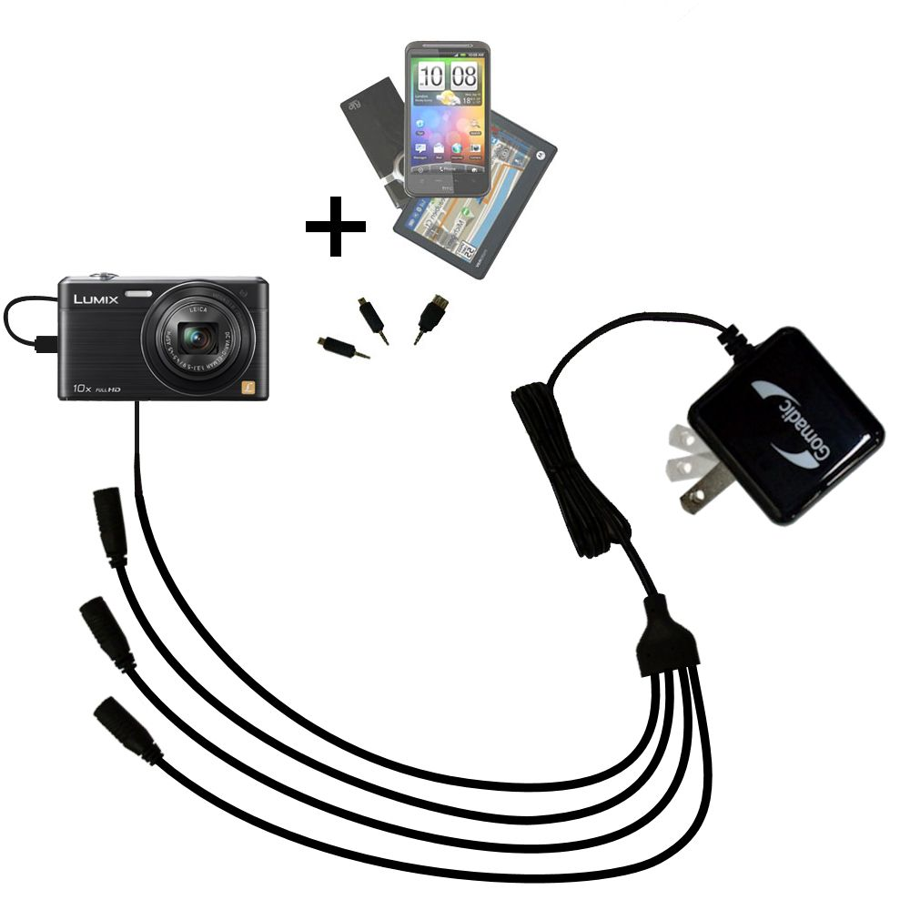 Quad output Wall Charger includes tip for the Panasonic Lumix DMC-SZ9