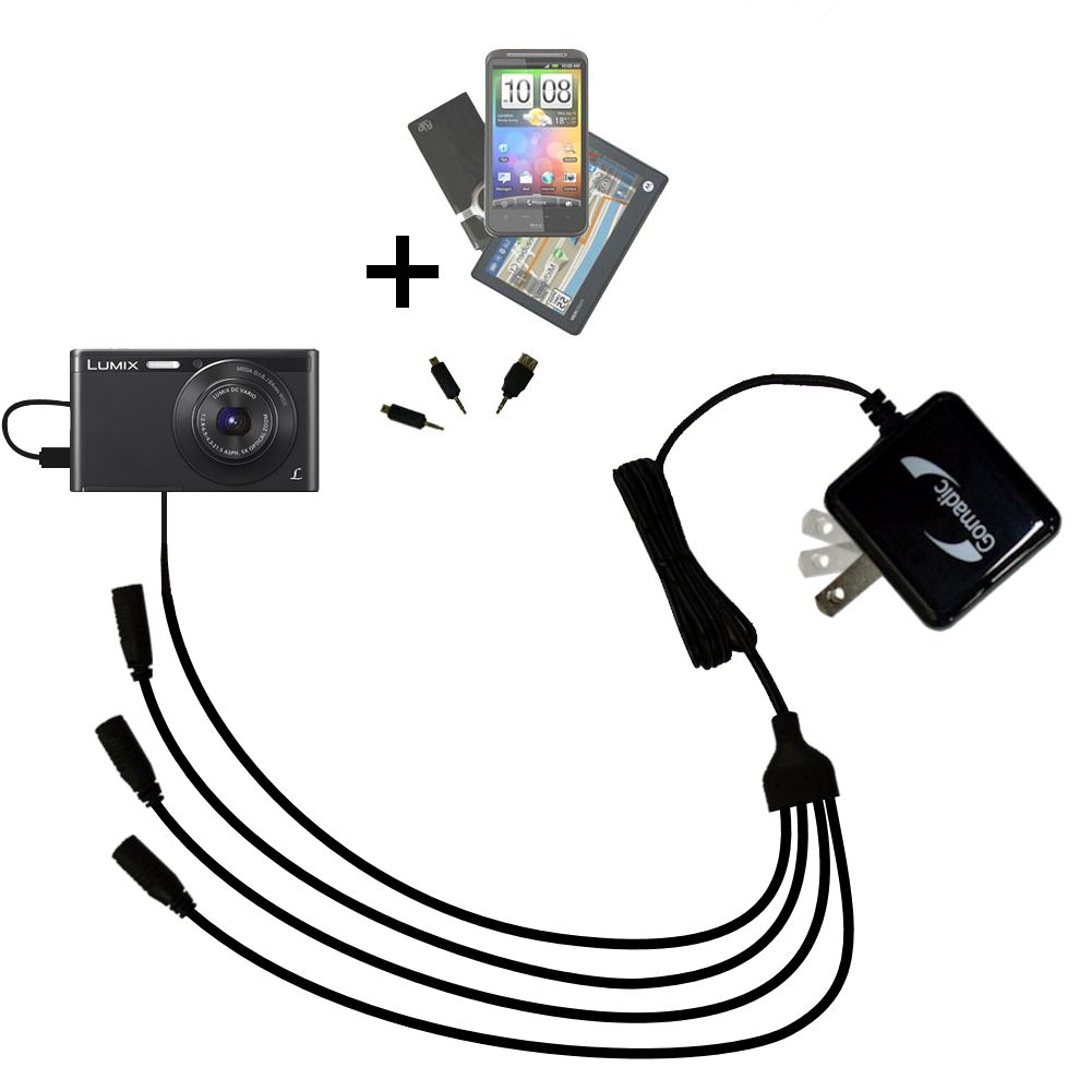 Quad output Wall Charger includes tip for the Panasonic Lumix DMC-XS1K