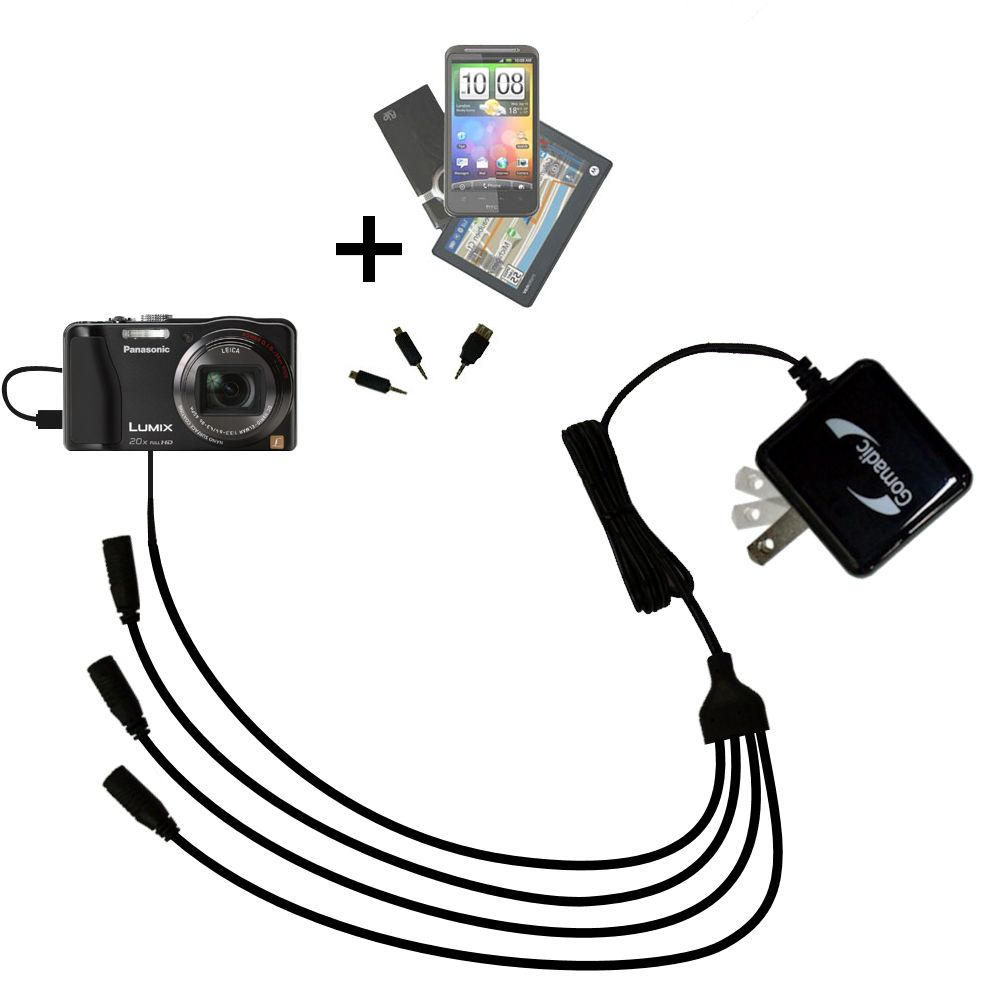 Quad output Wall Charger includes tip for the Panasonic Lumix DMC-ZS20W