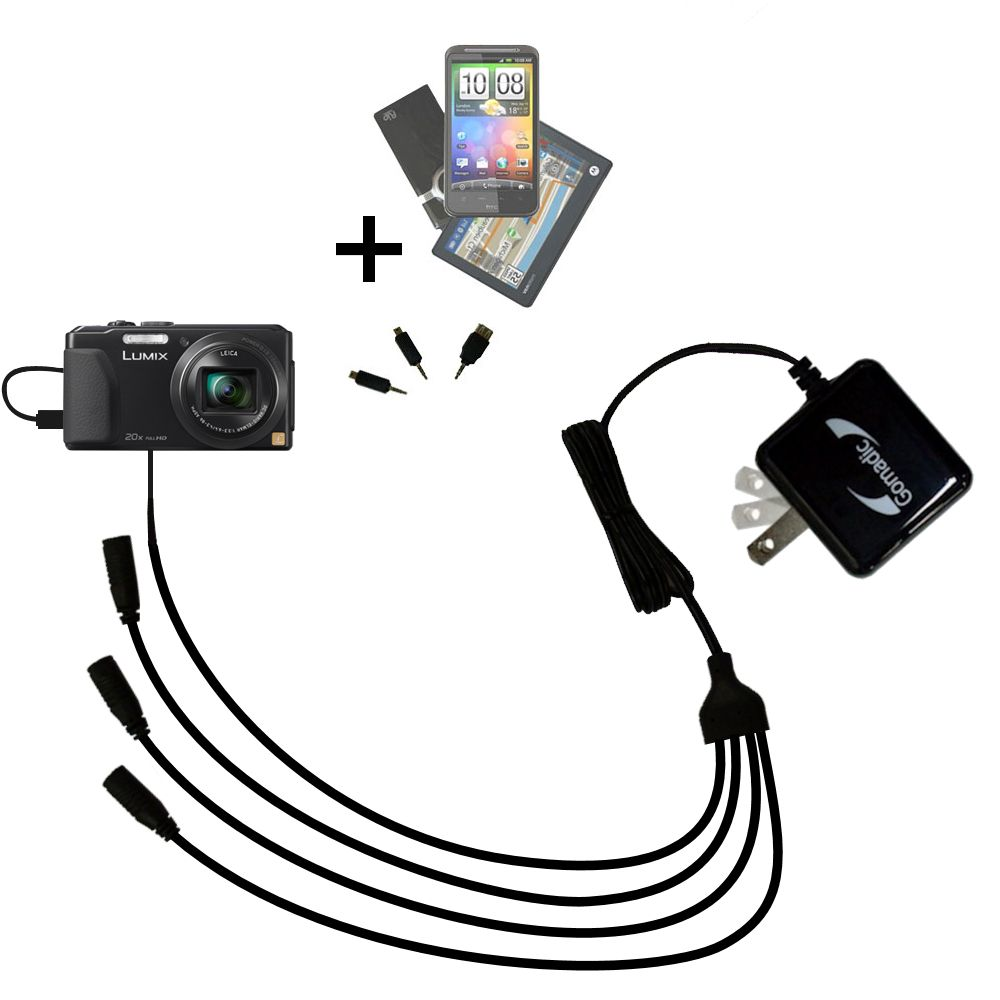 Quad output Wall Charger includes tip for the Panasonic Lumix DMC-ZS30K