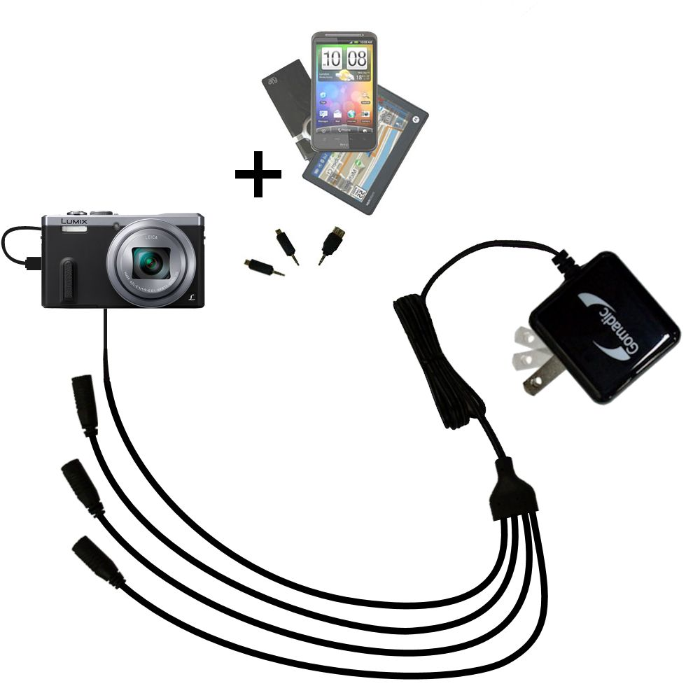 Quad output Wall Charger includes tip for the Panasonic Lumix DMC-ZS40