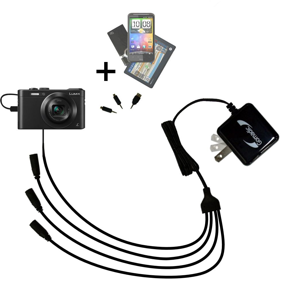 Quad output Wall Charger includes tip for the Panasonic Lumix LF1 / DMC-LF1