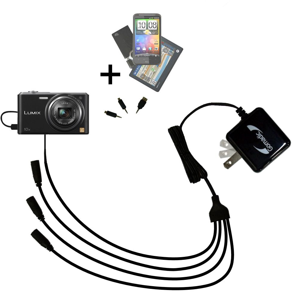 Quad output Wall Charger includes tip for the Panasonic Lumix SZ3 / DMC-SZ3