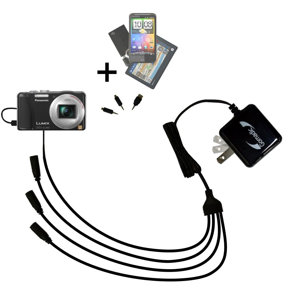 Quad output Wall Charger includes tip for the Panasonic Lumix ZS19 / ZS20