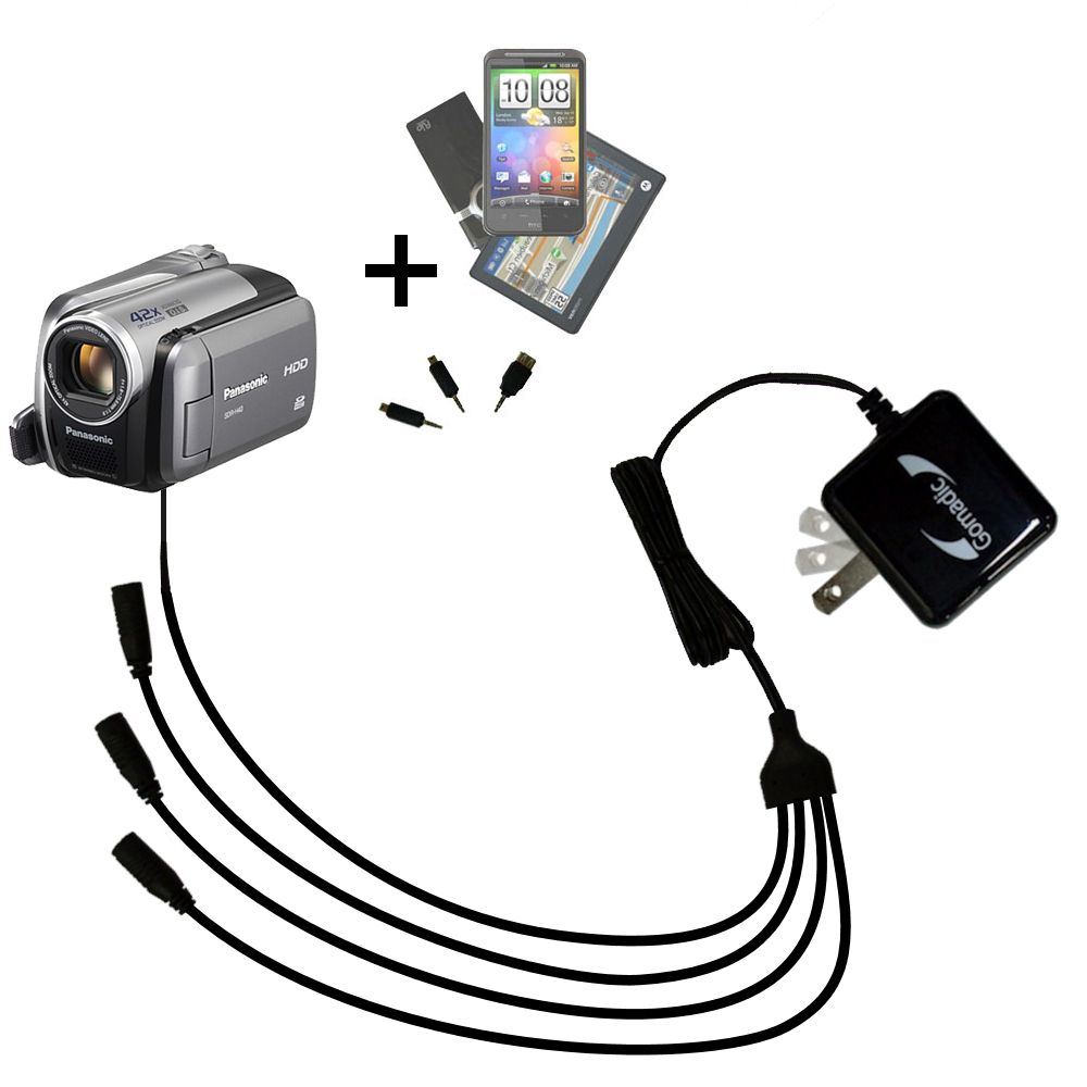 Quad output Wall Charger includes tip for the Panasonic SDR-570 Camcorder