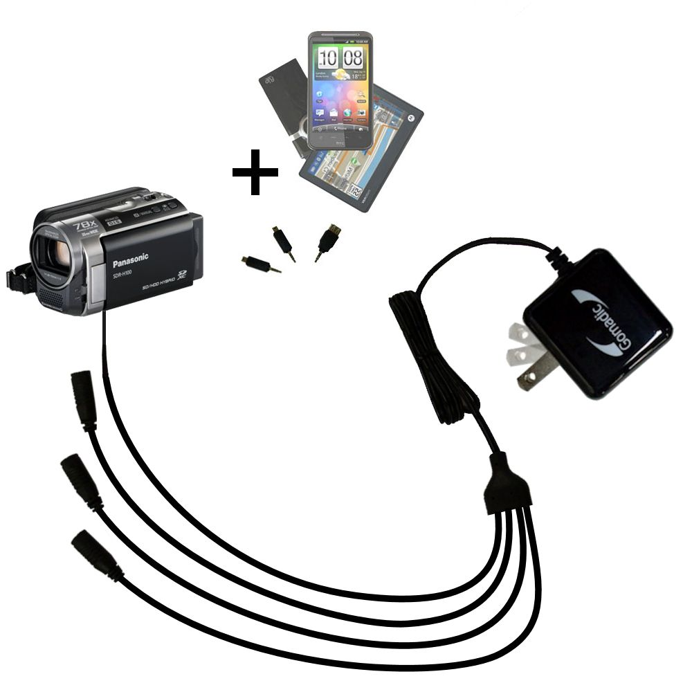 Quad output Wall Charger includes tip for the Panasonic SDR-H100 Camcorder