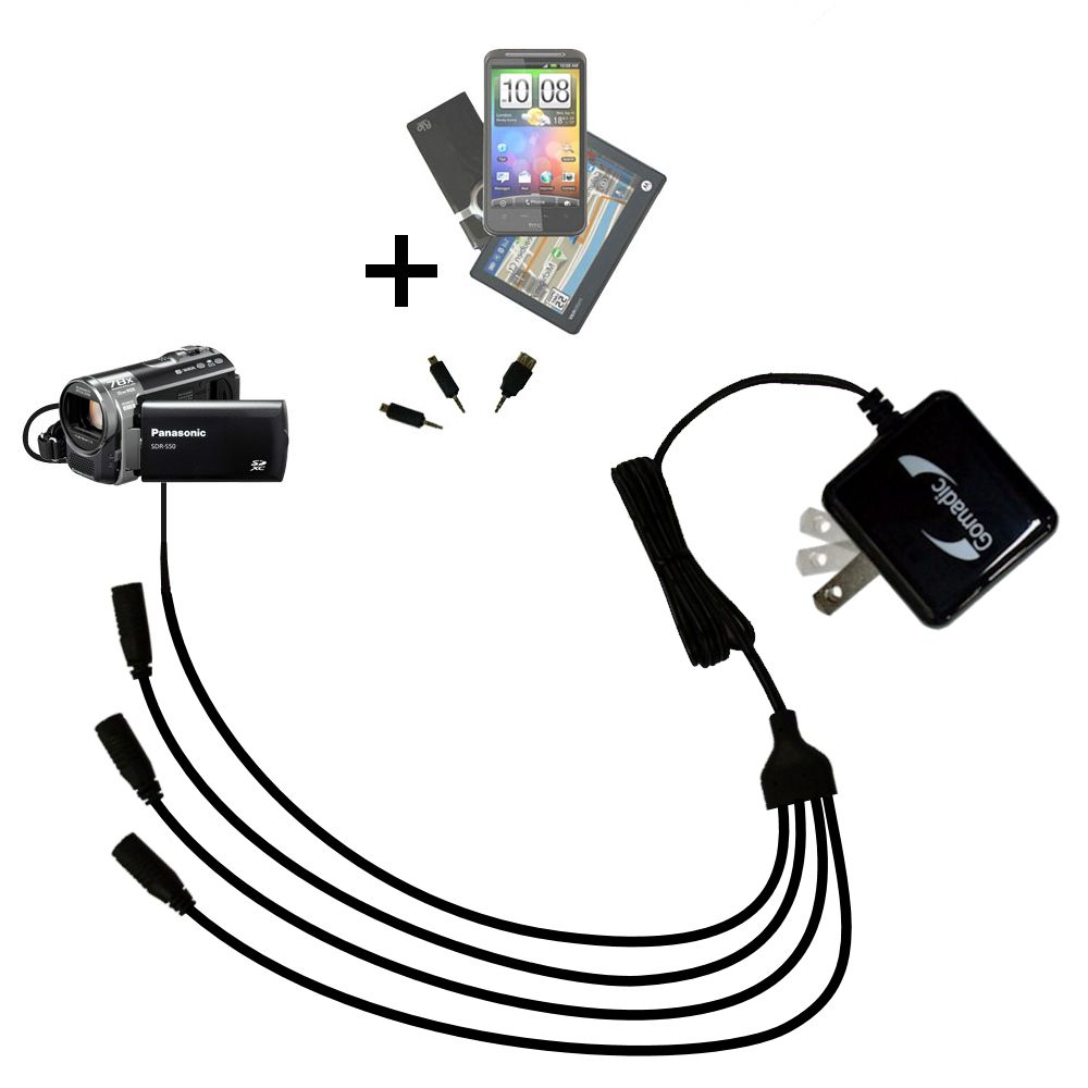Quad output Wall Charger includes tip for the Panasonic SDR-T50 Video Camera