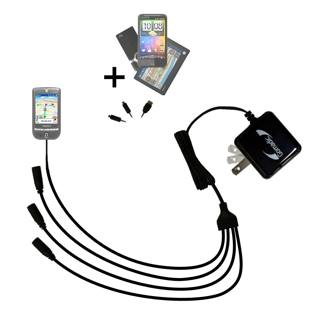 Quad output Wall Charger includes tip for the Pharos GPS 525E