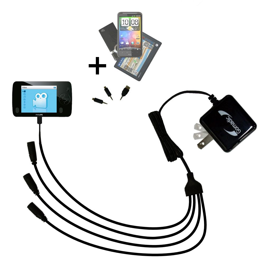 Quad output Wall Charger includes tip for the Philips GoGear SA3125/37