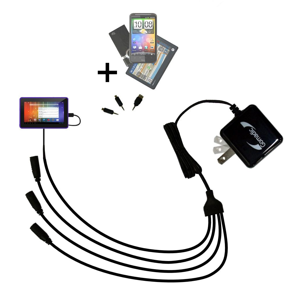Quad output Wall Charger includes tip for the Playtime Tabby 7DU - 7 Inch
