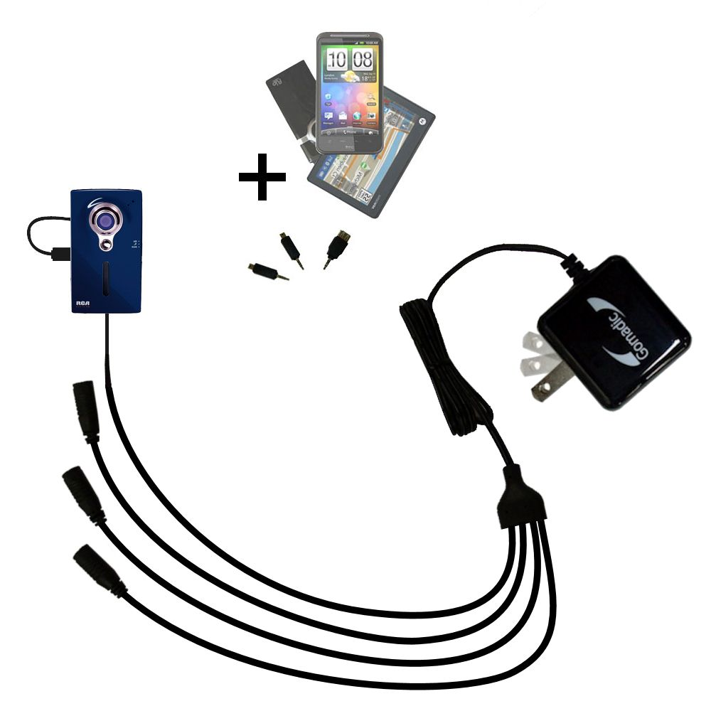 Quad output Wall Charger includes tip for the RCA EZ229HD Small Wonder Digital Camcorders