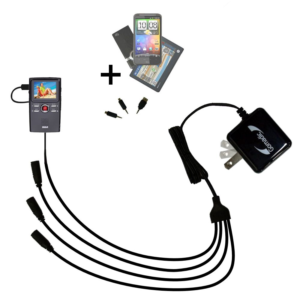 Quad output Wall Charger includes tip for the RCA EZ3000 Small Wonder HD Camcorder