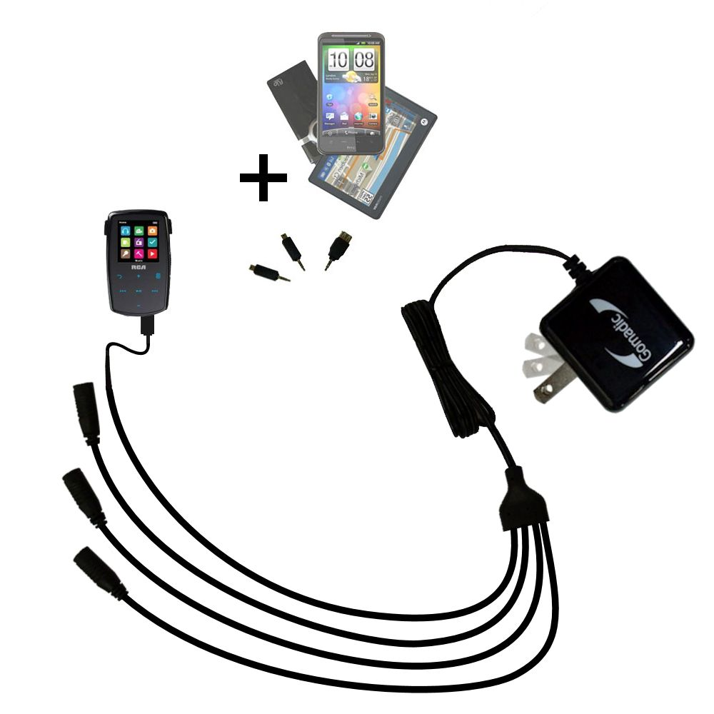 Quad output Wall Charger includes tip for the RCA M3904 Lyra Digital Media Player