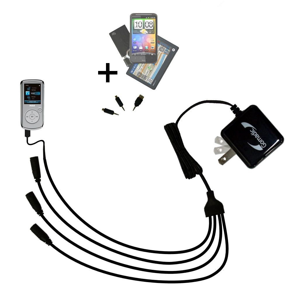 Quad output Wall Charger includes tip for the RCA M4108 Digital Music Player