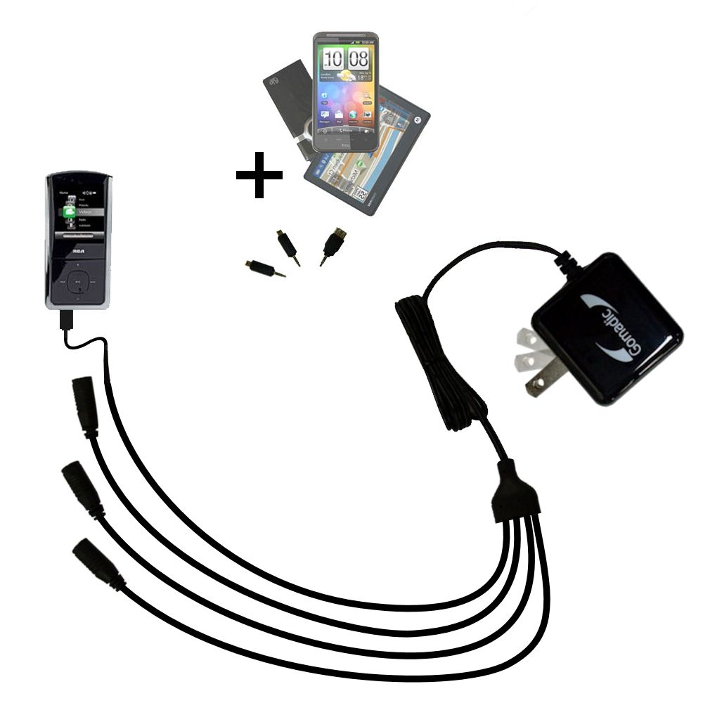 Quad output Wall Charger includes tip for the RCA M4302 Digital Music Player