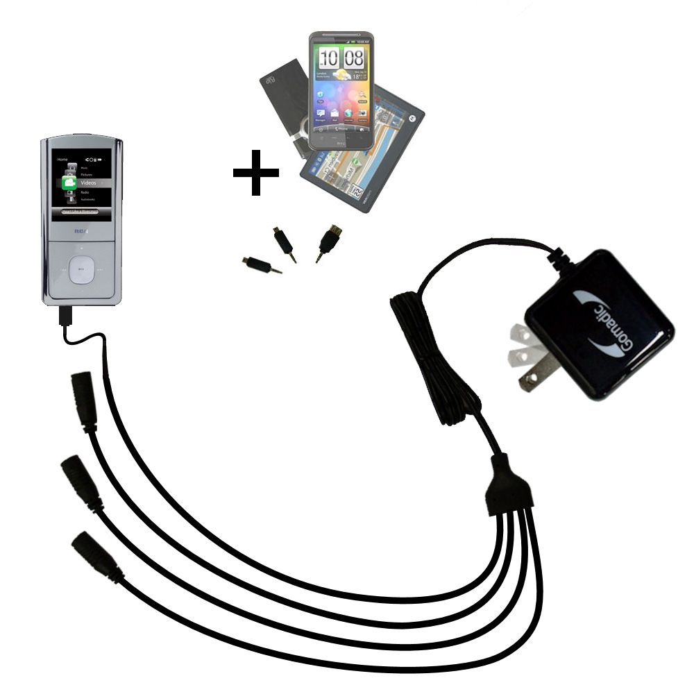 Quad output Wall Charger includes tip for the RCA M4304 Opal Digital Media Player