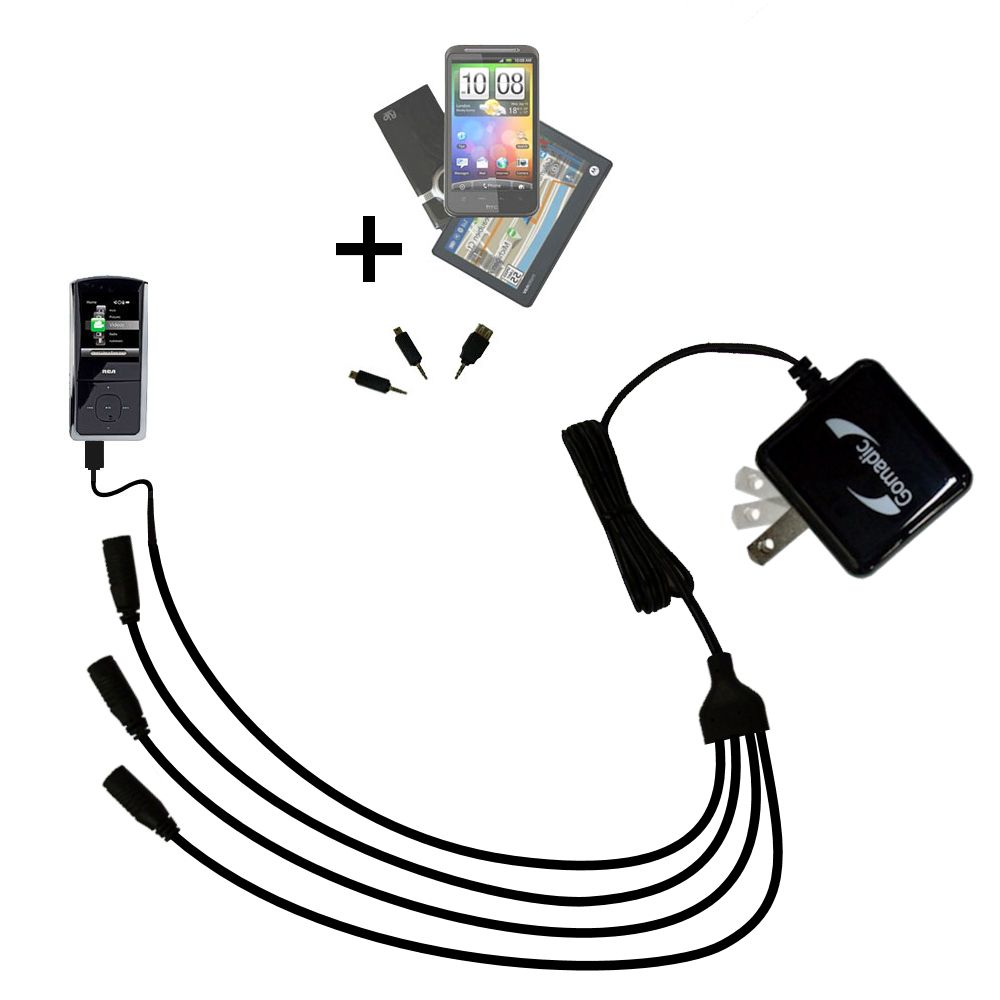 Quad output Wall Charger includes tip for the RCA M4308 Digital Music Player