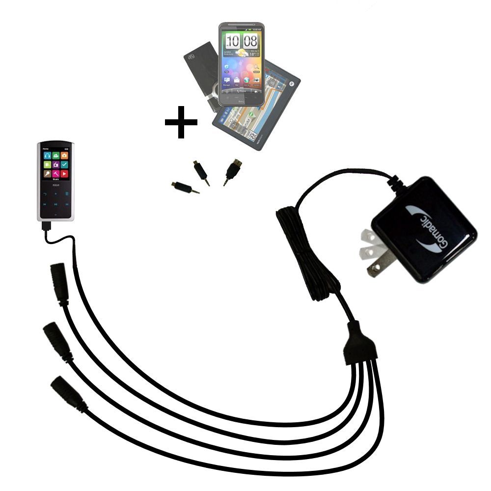 Quad output Wall Charger includes tip for the RCA M4608 Lyra Digital Media Player
