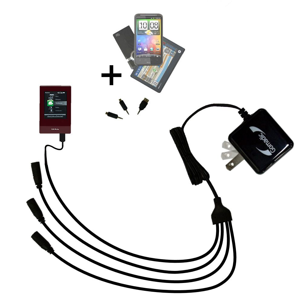 Quad output Wall Charger includes tip for the RCA SL5016 LYRA Slider Media Player