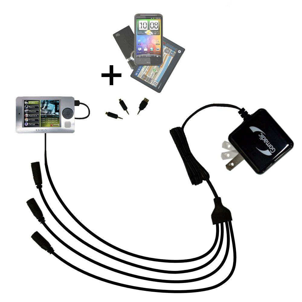 Quad output Wall Charger includes tip for the RCA X3000 LYRA Media Player