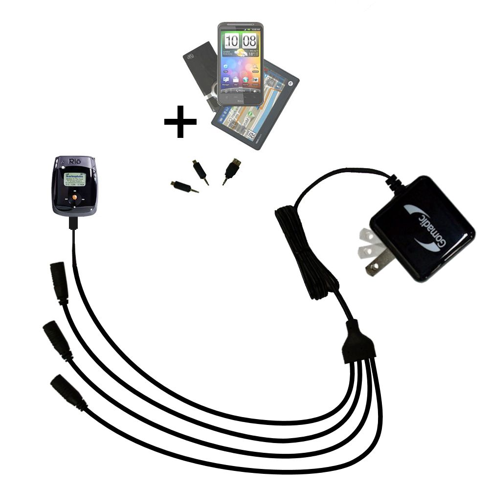 Quad output Wall Charger includes tip for the Rio Nitrus