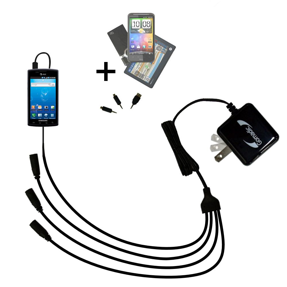 Quad output Wall Charger includes tip for the Samsung Captivate