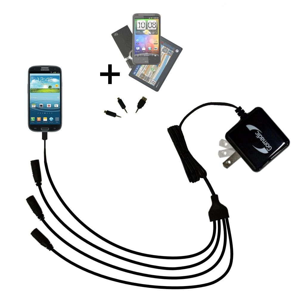 Quad output Wall Charger includes tip for the Samsung Galaxy S III