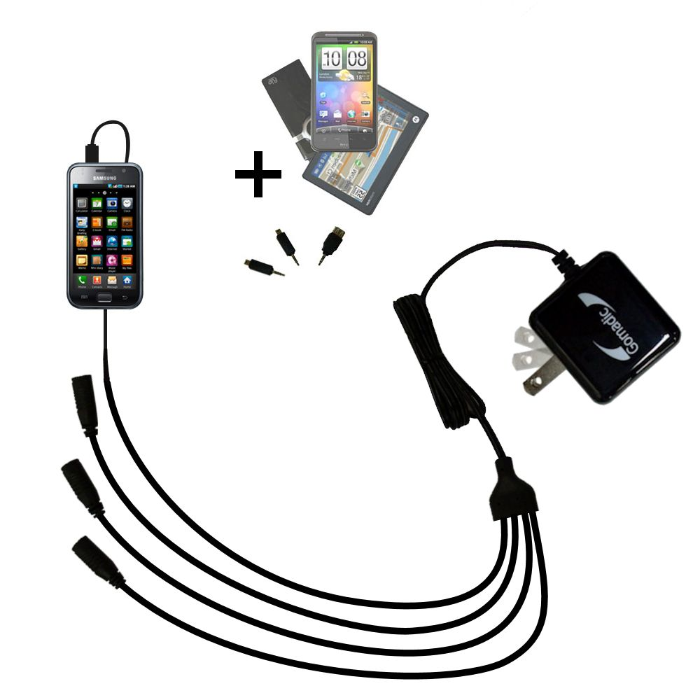 Quad output Wall Charger includes tip for the Samsung Galaxy S