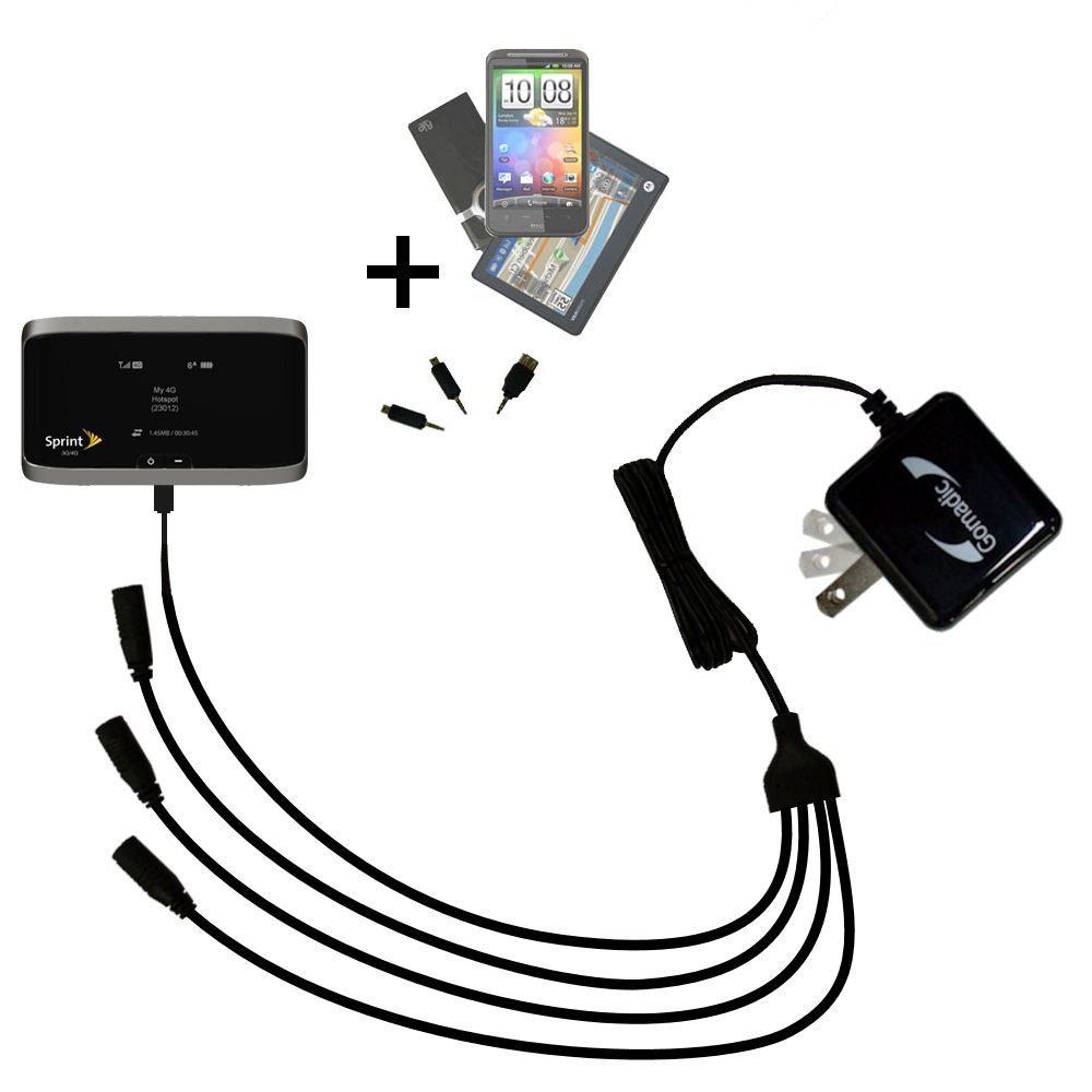 Quad output Wall Charger includes tip for the Sierra Wireless 4G LTE Tri-Fi Hotspot