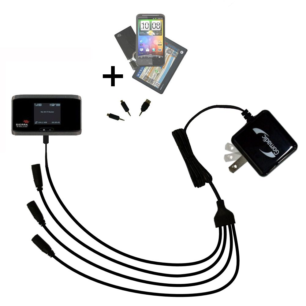 Quad output Wall Charger includes tip for the Sierra Wireless Aircard 753S / 754S