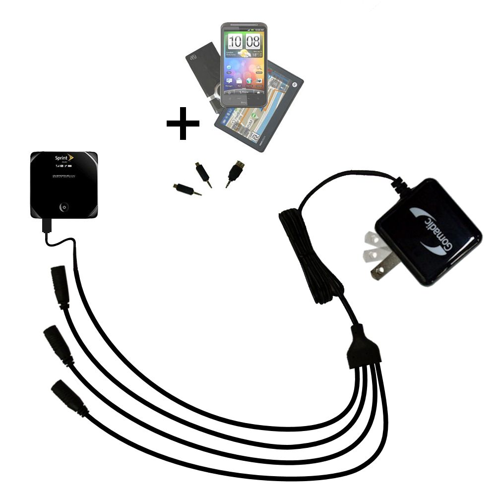 Quad output Wall Charger includes tip for the Sierra Wireless AirCard W801 Mobile Hotspot