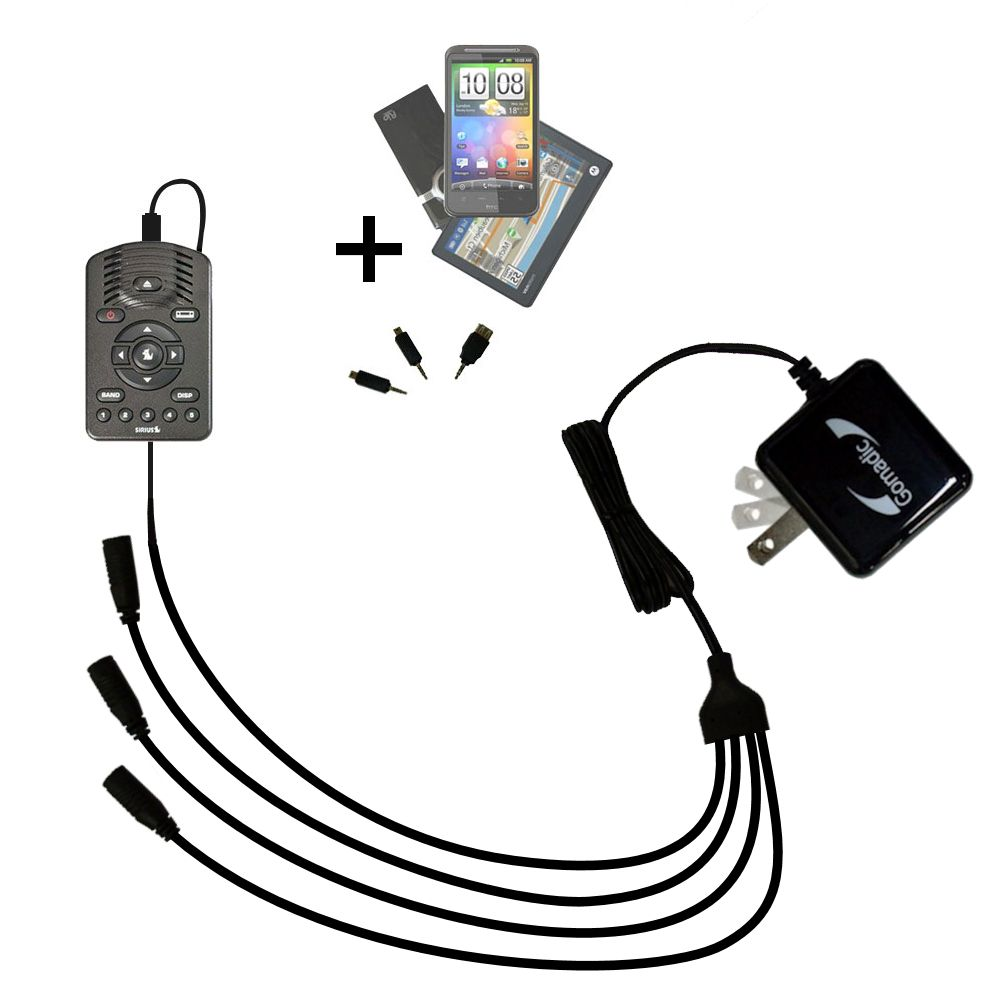Quad output Wall Charger includes tip for the Sirius One SV1