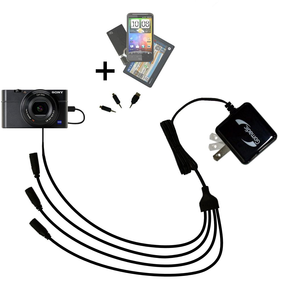 Quad output Wall Charger includes tip for the Sony Cybershot DSC-RX100