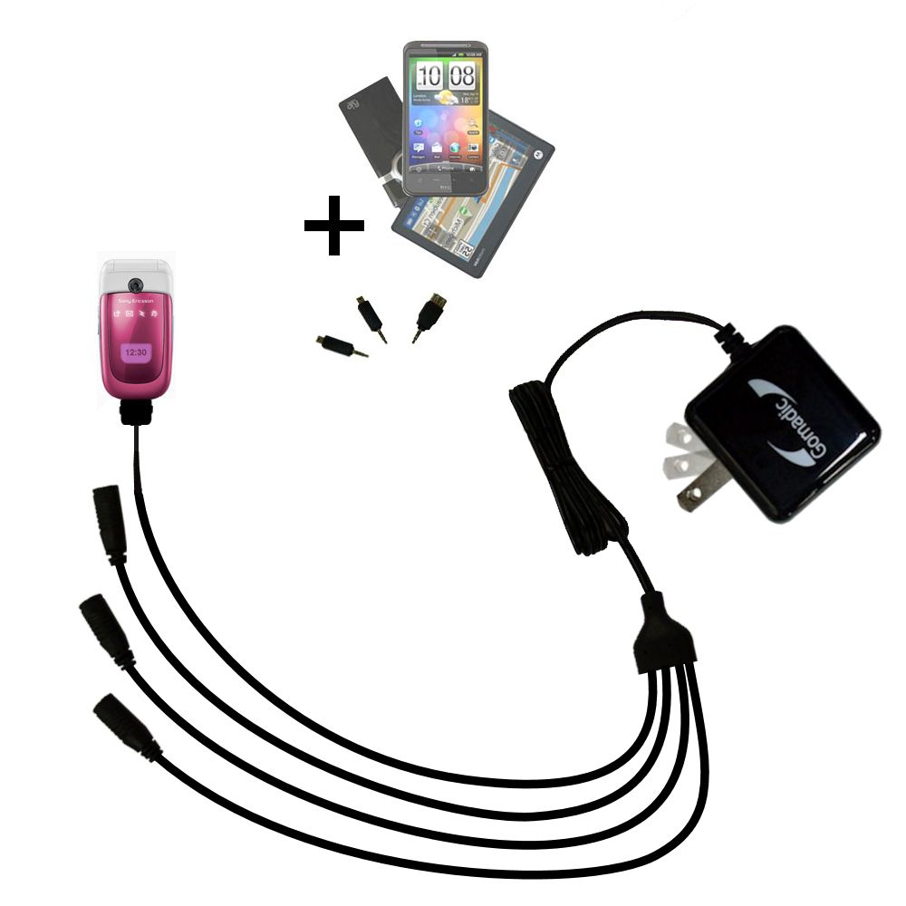 Quad output Wall Charger includes tip for the Sony Ericsson z310i